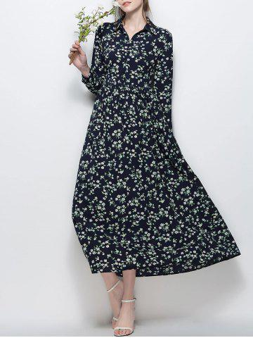 Long Sleeve Floral Print Chiffon Maxi Dress - Purplish Blue - L