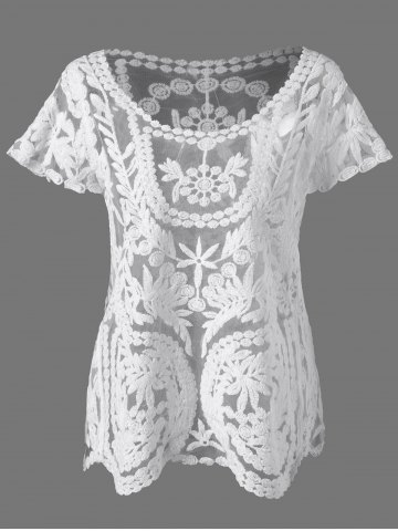 Outfits Lace See Through Blouse WHITE ONE SIZE