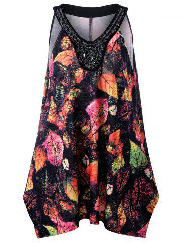 Plus Size Leaf Printed Beadings Sleeveless Swing Top - Colormix - 2xl