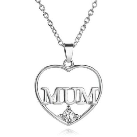 Affordable Rhinestone Heart Mother Pendant Necklace - SILVER  Mobile