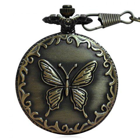 Carved Butterfly Vintage Quartz Pocket Watch - Copper Color