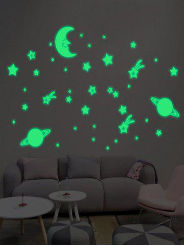 Cartoon Moon Earth Star Noctilucent Wall Stickers For Kid - Luminous Green - 48.5*72cm