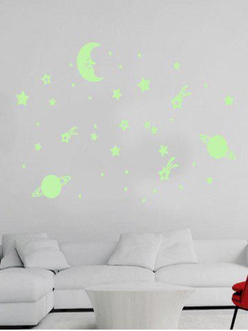 Sale Cartoon Moon Earth Star Noctilucent Wall Stickers For Kid - LUMINOUS GREEN  Mobile