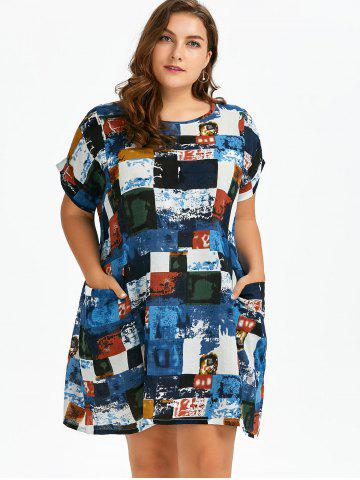 Shop Plus Size Colored Plaid T-Shirt Dress With Pockets - ONE SIZE BLUE Mobile