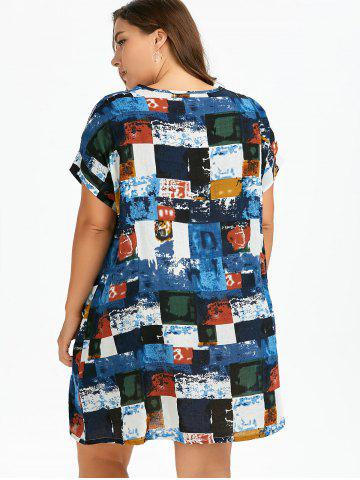 Best Plus Size Colored Plaid T-Shirt Dress With Pockets - ONE SIZE BLUE Mobile