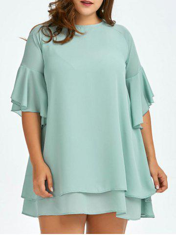 Plus Size Bell Sleeve Chiffon Two Layer Dress - Sage Green - One Size