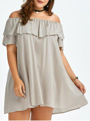 Fashion Plus Size Ruffled Off The Shoulder Swing Dress APRICOT ONE SIZE
