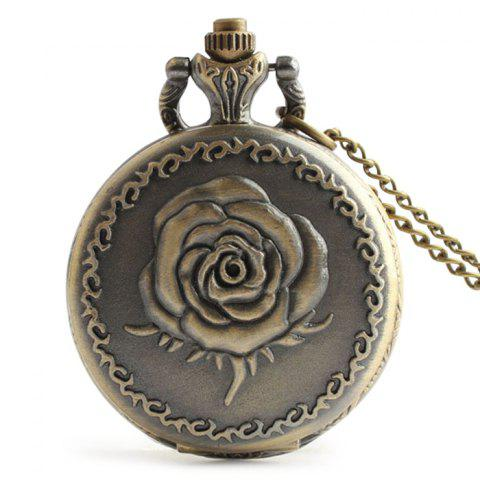 Rose Engraved Vintage Analog Pocket Watch - Copper Color