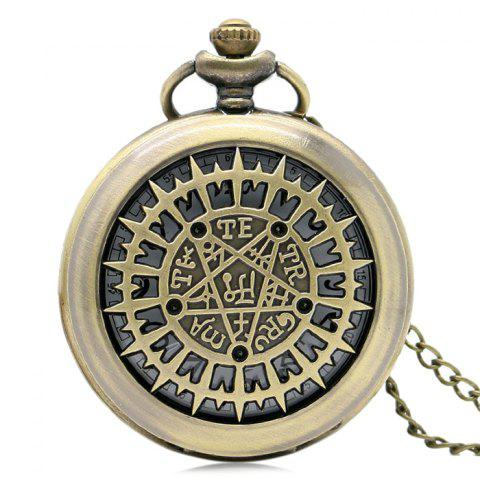Fancy Magic Star Engraved Vintage Quartz Pocket Watch GOLDEN