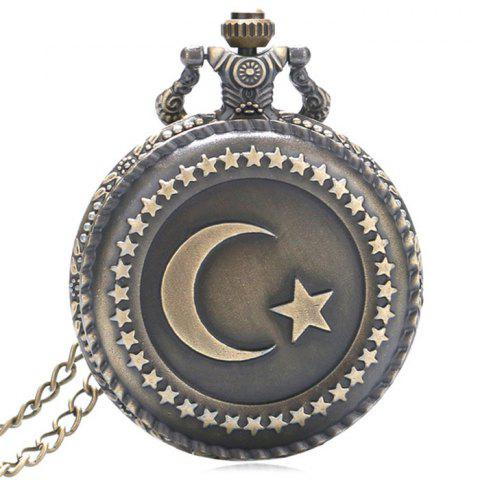 Cheap Moon Star Vintage Analog Pocket Watch COPPER COLOR