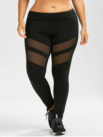 Fancy Plus Size Mesh Panel Sport Leggings - 3XL BLACK Mobile