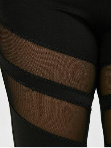 Sale Plus Size Mesh Panel Sport Leggings - 3XL BLACK Mobile