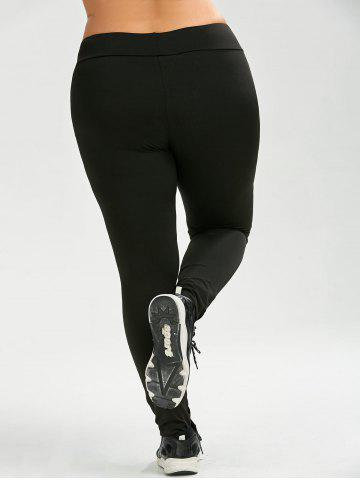 Fashion Plus Size Mesh Panel Sport Leggings - 3XL BLACK Mobile