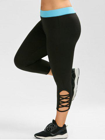 Cheap Active Plus Size Criss Cross Capri Leggings