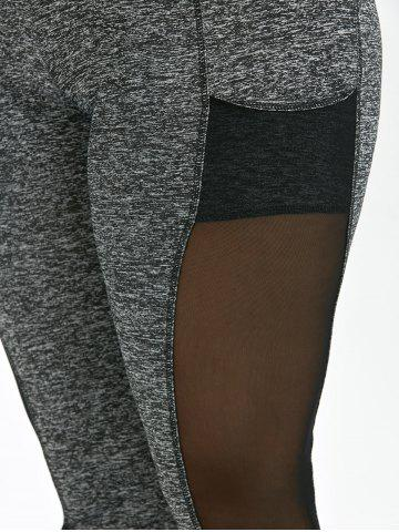 Online Mesh Insert Plus Size Workout Leggings With Pockets - 3XL GRAY Mobile