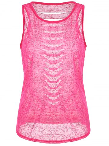 Online Cut Out Distressed Racerback Tank