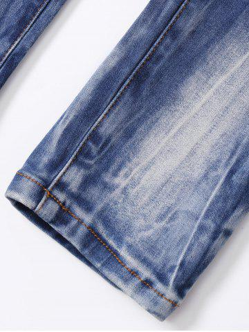 Buy Ripped Button Fly Bleached Jeans - S BLUE Mobile