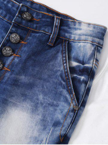 Outfit Ripped Button Fly Bleached Jeans - S BLUE Mobile