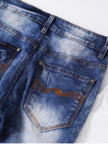 New Ripped Button Fly Bleached Jeans - S BLUE Mobile