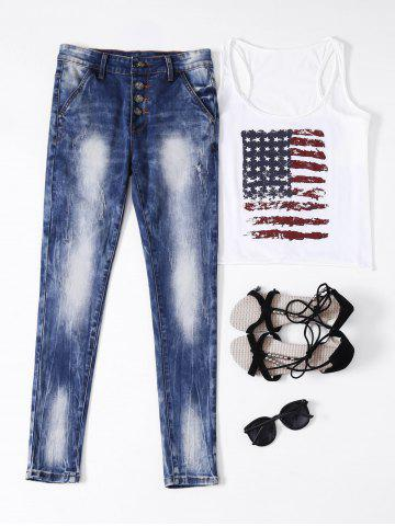 Fashion Ripped Button Fly Bleached Jeans BLUE S
