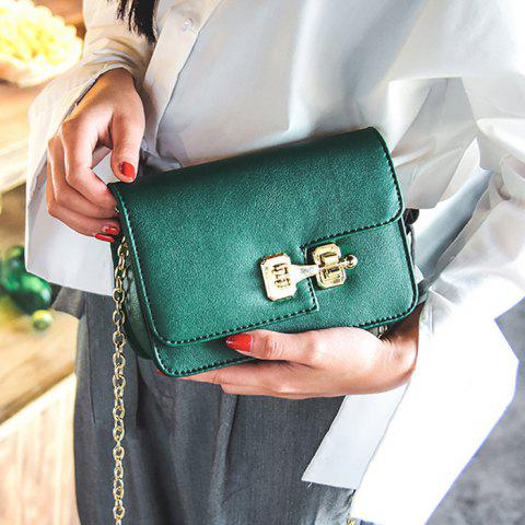 Trendy Metal Detail Mini Cross Body Bag - GREEN  Mobile