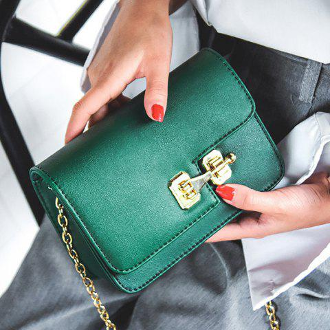 Unique Metal Detail Mini Cross Body Bag - GREEN  Mobile