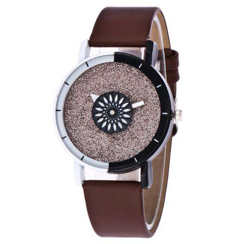 Faux Leather Band Glitter Quartz Watch - Brown