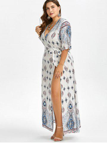 Latest Low Cut Plus Size A-Line Maxi Dress - 5XL WHITE Mobile