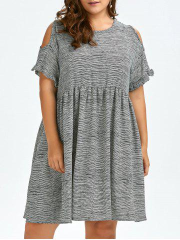 Plus Size Cold Shoulder Stripe Casual Dress - Black White - One Size