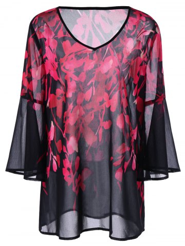 Plus Size Floral Flare Sleeve Blouse
