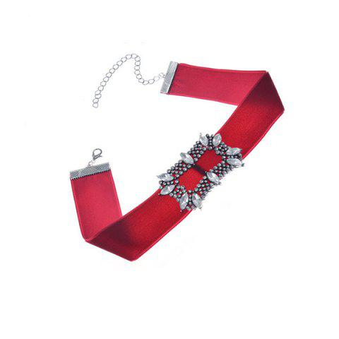 Faux Crystal Velvet Choker Necklace - Wine Red