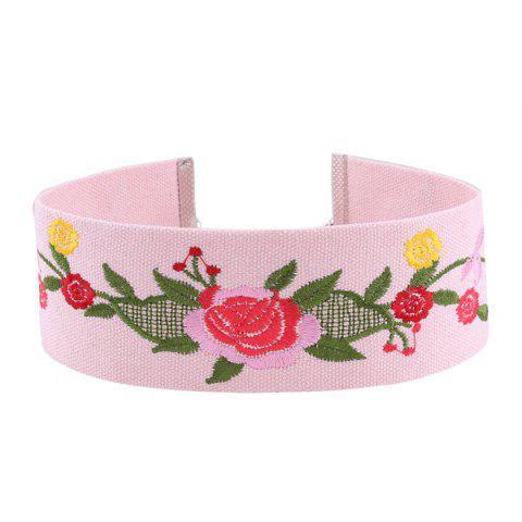 Fancy Embroidery Flower Choker Necklace PINK