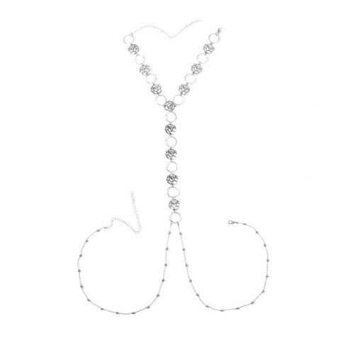 Shop Flower Rose Body Chain - SILVER  Mobile