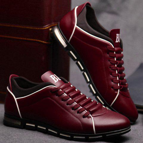 Outfit Fashion Splicing and PU Leather Design Casual Shoes For Men - 43 WINE RED Mobile