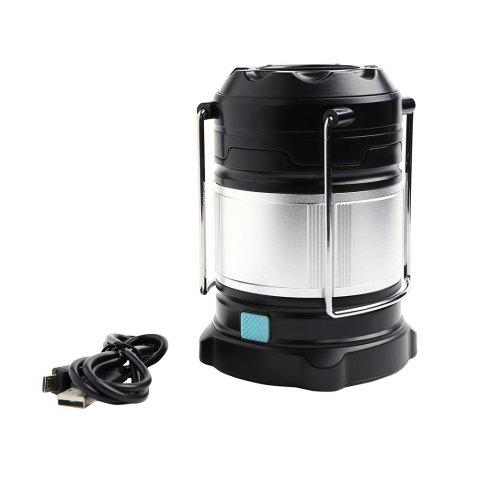 4 Modes Collapsible Rechargeable LED Camping Lantern - Silver And Black