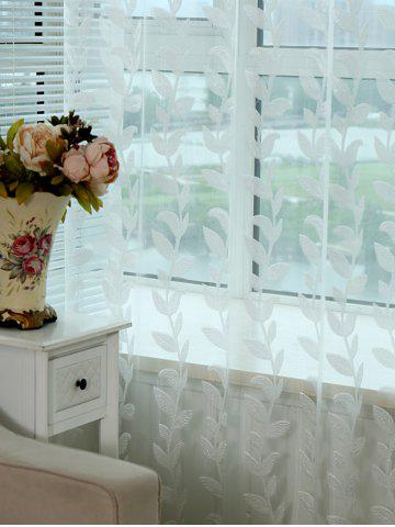 Affordable Grommet Top Leaf Rattan Window Tulle Curtain - W42INCH*L63INCH WHITE Mobile