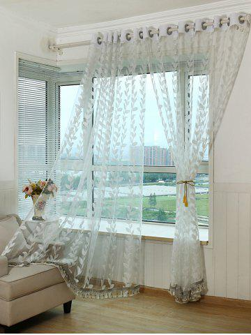 Latest Grommet Top Leaf Rattan Window Tulle Curtain - W42INCH*L63INCH WHITE Mobile