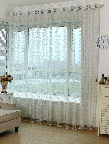 Chic Grommet Top Leaf Rattan Window Tulle Curtain