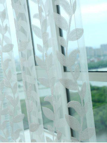 Hot Grommet Top Leaf Rattan Window Tulle Curtain - W42INCH*L63INCH WHITE Mobile