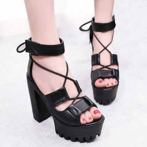 Outfit Platform Block Heel Tie Up Sandals BLACK 37