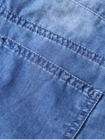 Chic Zipper Fly Cuffed Jeans - S BLUE Mobile