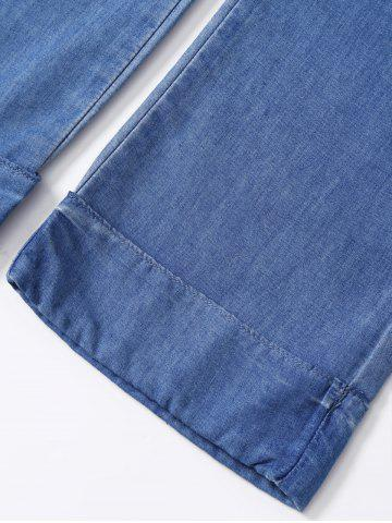 Affordable Zipper Fly Cuffed Jeans - S BLUE Mobile
