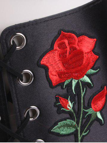 New Lace Up Floral Embroidered Corset Belt - BLACK  Mobile