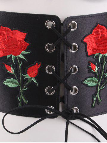 Cheap Lace Up Floral Embroidered Corset Belt - BLACK  Mobile