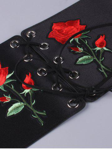 Outfits Lace Up Floral Embroidered Corset Belt - BLACK  Mobile