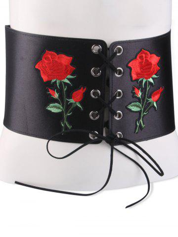 Trendy Lace Up Floral Embroidered Corset Belt - BLACK  Mobile