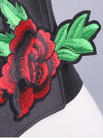 Shop Flowers Embroidered Chunky Waist Corset Belt - BLACK  Mobile