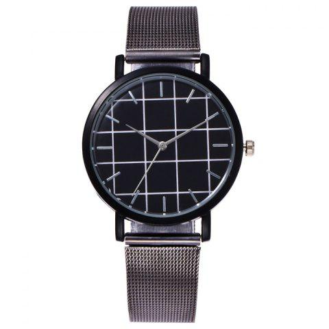 New Steel Mesh Band Grid Face Quartz Watch