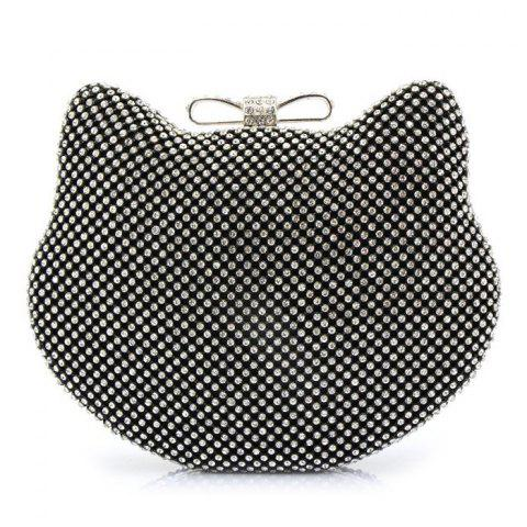Cheap Rhinestone Cat Head Shaped Evening Bag - BLACK  Mobile