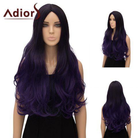 Online Adiors Ultra Long Center Part Wavy Ombre Cosplay Synthetic Wig - GRADUAL PURPLE  Mobile
